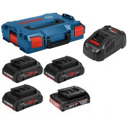 Комплект BOSCH 3 Батерии ProCore x18V-4.0Ah + Батерия 18V-2.0Ah + GAL 1880 CV + L-BOXX