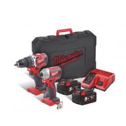 Комплект акумулаторни инструменти Milwaukee M18 CBLPP2B-502C - 18V Li-Ion
