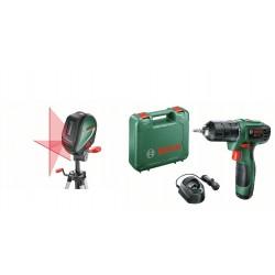 Bosch Лазерен нивелир UniversalLevel 3 (комплект със статив) + Акумулаторен винтоверт EasyDrill 1200
