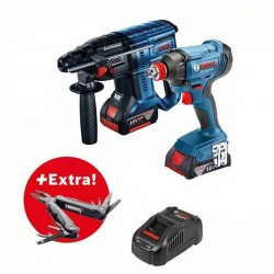 Акумулаторен комплект GDX 180-LI + GBH 180-Li ,2 х4.0 Ah,зарядно у-во AL 1820 CV + чанта Bosch + Мулти инструмент