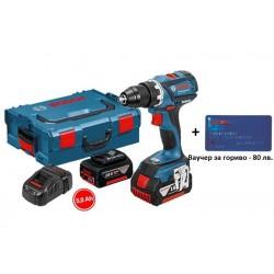 Aкумулаторен винтоверт Bosch GSR 18 V-EC,  2 x 5,0 Ah, L-BOXX + Ваучер за гориво