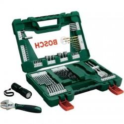 V-Line TiN - свредла и битове, комплект със светодиодно джобно фенерче и раздвижен гаечен ключ, 83 части